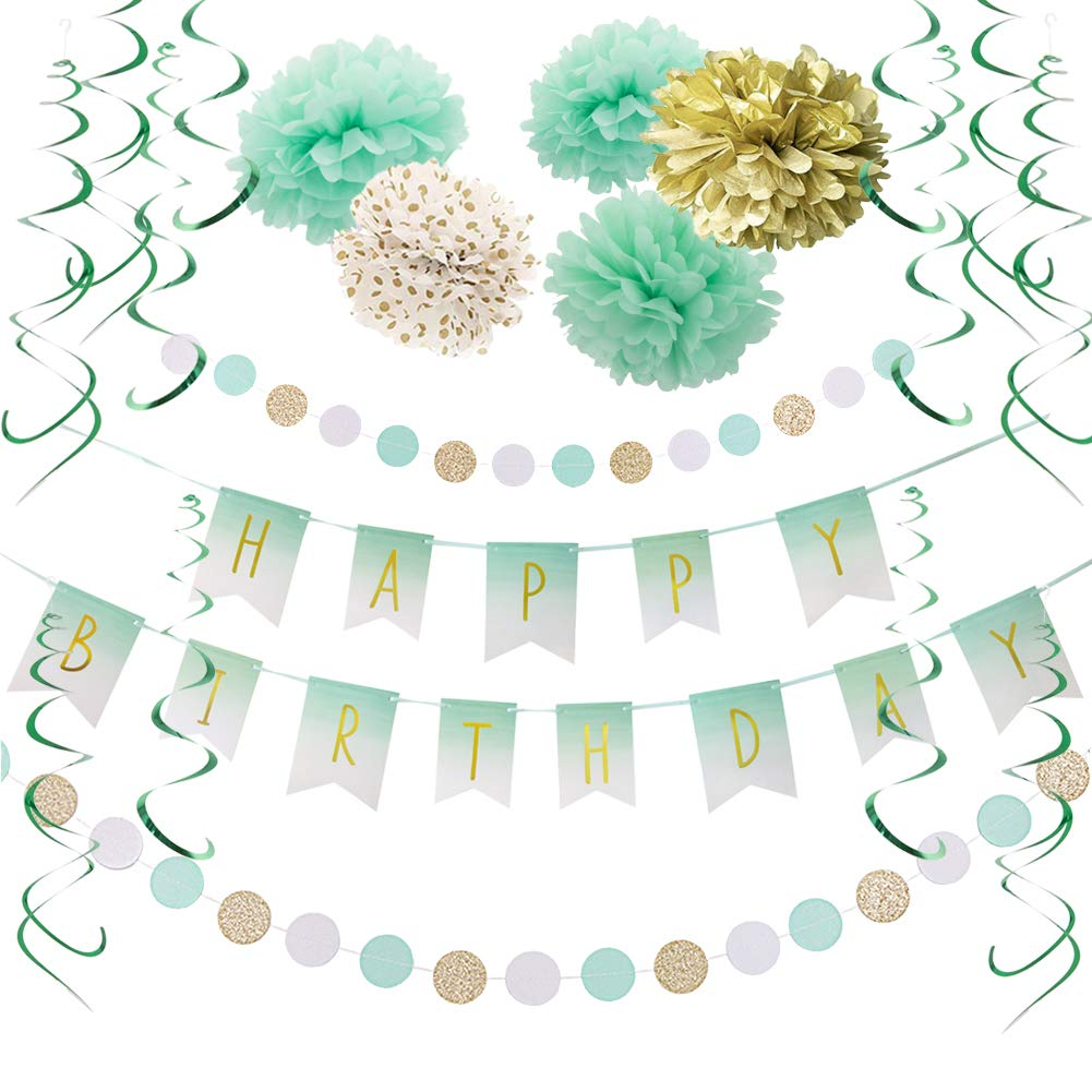 Mint Gold Birthday Decorations Mint White Happy Birthday Banner Tissue Paper Pom Poms Flowers Green Hanging Swirls Baby Shower 1st Birthday Bridal Shower Party Supplies SUNBEAUTY by SUNBEAUTY