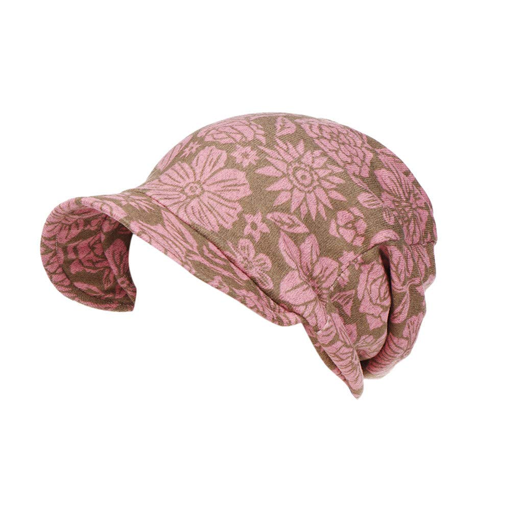 Nadition Fashion Women Floral Print Cotton Keep Warm Winter Canvas Wide-Brimmed Hat Turban Cap Dual-Purpose Cap Hat
