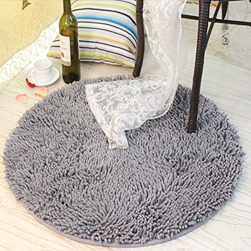 Ustide Grey Round Rug for Boys Soft Shaggy Chenille Rug Non-Slip Absorbent Area Rug Modern Floor Mat