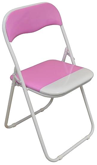 Silla plegable de escritoria acolchado, rosa y blanco