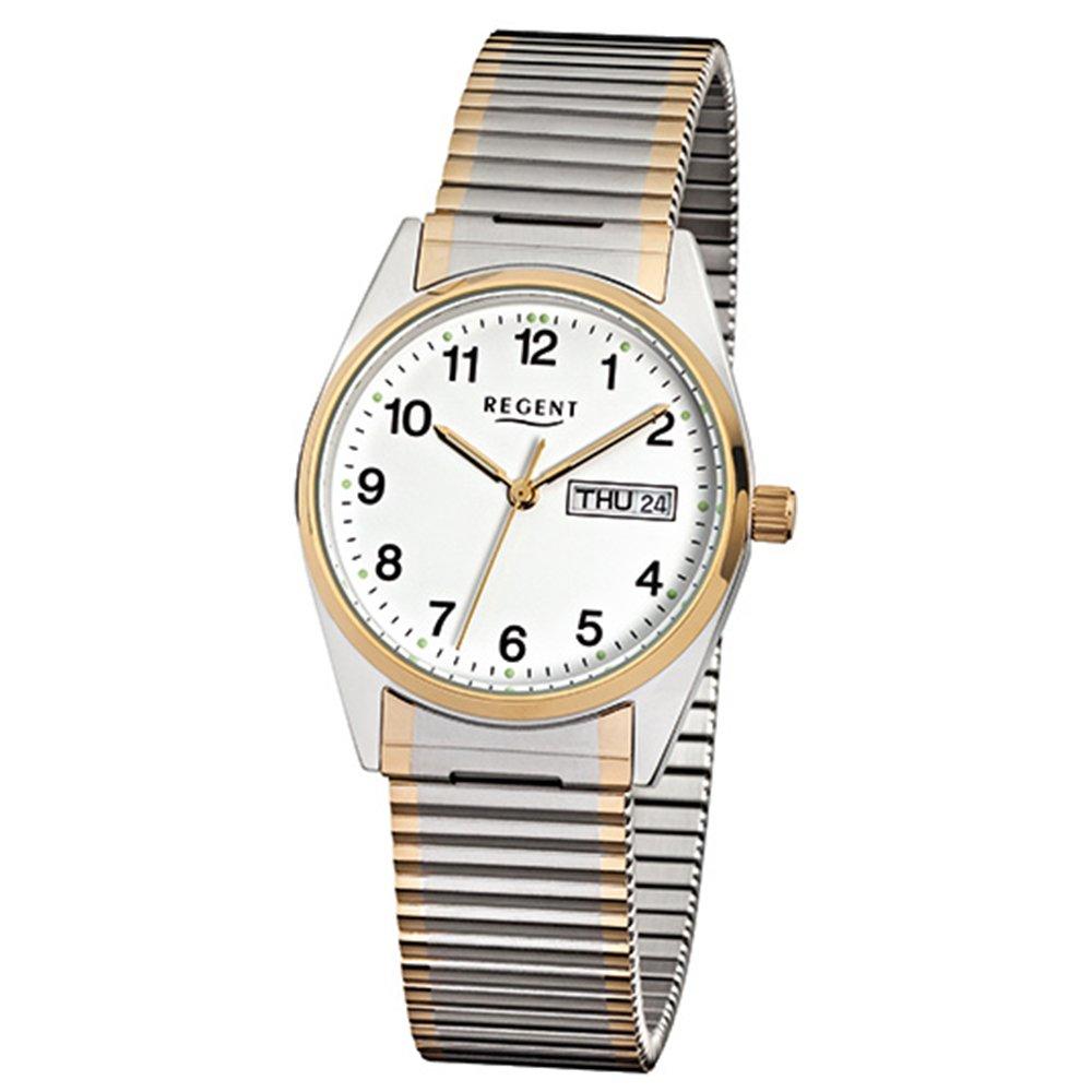 Regent Señor Reloj de pulsera acero inoxidable Cordón goldplattiert bicolor f880