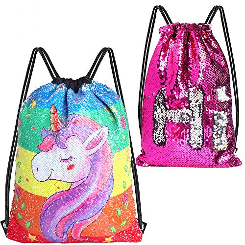 (Hicdaw 2PCS Sequin Drawstring Backpack for Unicorn Mermaid Sequin Bag Reversible Sequin Drawstring Gym Bags Birthday Gift for Kids)