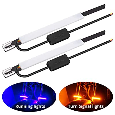 Motorcycle Fork Light Strips 60 3014SMD Chips Double Colors LED Turn Signal Lights Amber Daytime Running Lights Blue IP65 Waterproof 12V for Motorbike Front Rear Indicator Lights. (Blue/Yellow): Automotive