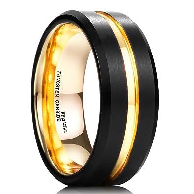King Will Duo Mens 8mm Black Matte Finish Tungsten Carbide Ring 18k