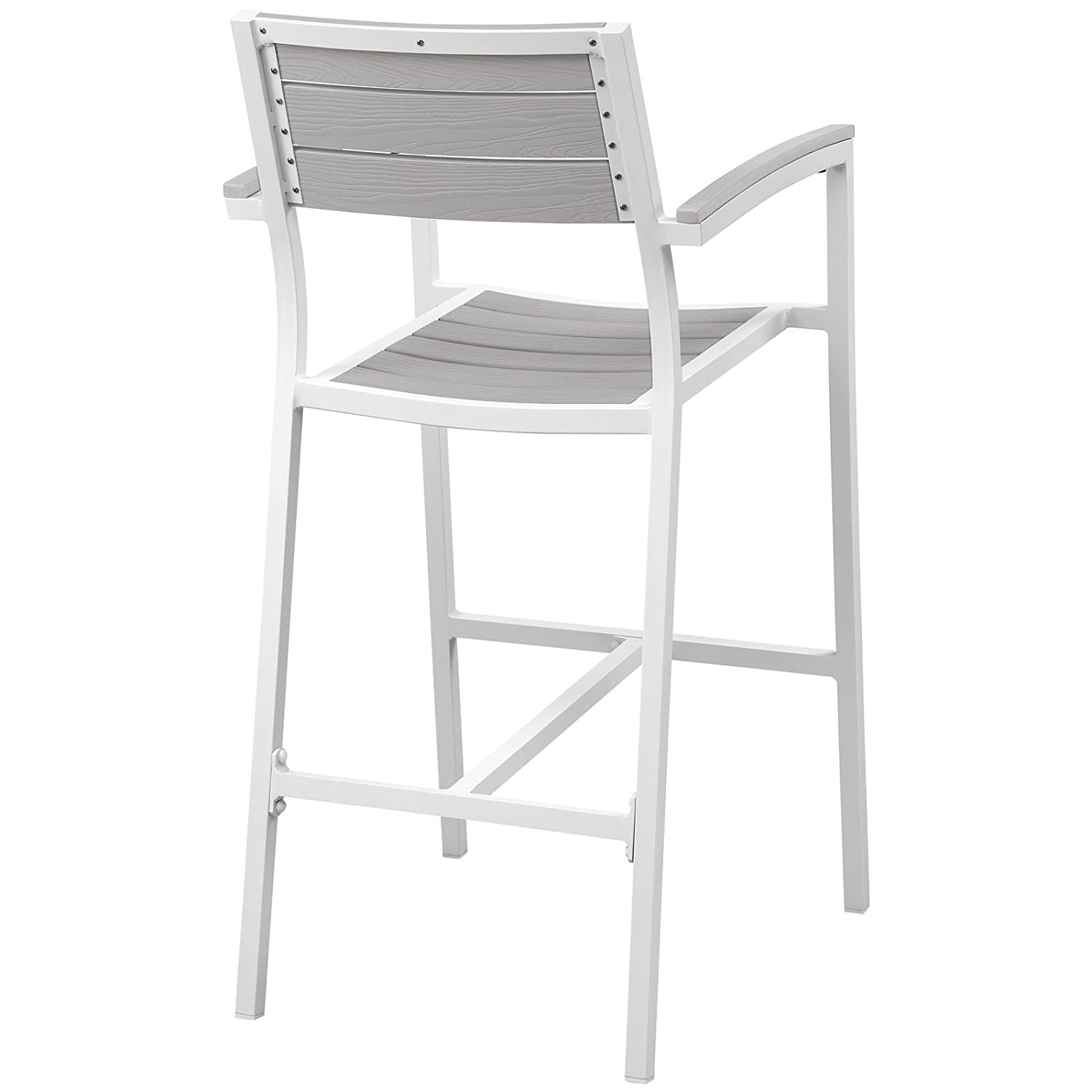 Modway EEI-1510-WHI-LGR Maine Aluminum Outdoor Patio Bar Stool, One, White Light Gray