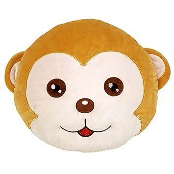 Kenmont Monkey Round Cushion Pillow Stuffed Plush Soft Toy Chair Inspiration Monkey Covering Eyes Emoji Pillow