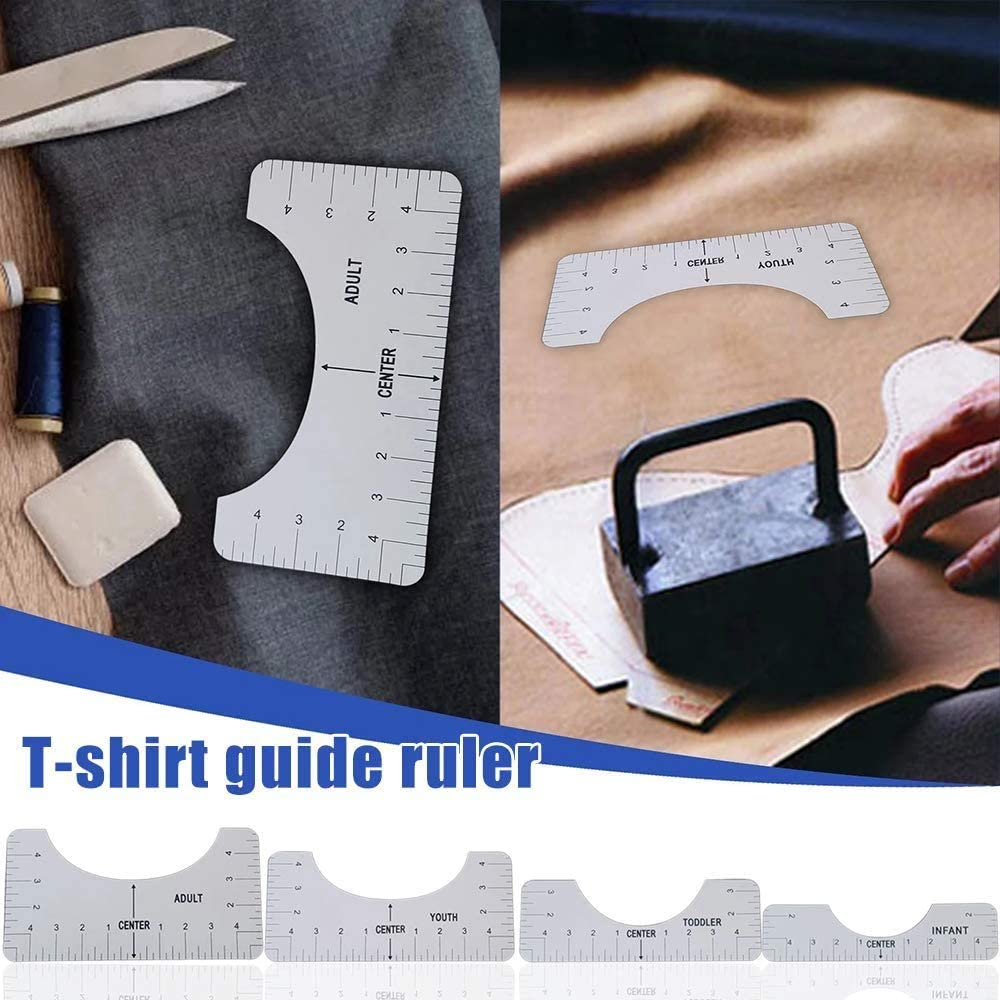 T-Shirt Alignment Ruler,T-Shirt Ruler Guide,Craft Ruler with Guide Tool for Making Fashion Center Design Sublimation Designs on T-Shirt 4 Rulers Included