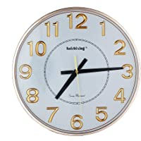 Haizhixing Large Number Non Ticking Quit Wall Clock (Golden)