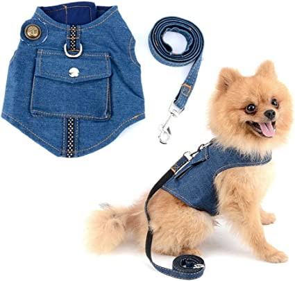Denim Dog Harness and Leash Set Breathable Step in Dog Vest for Puppy Large Dogs