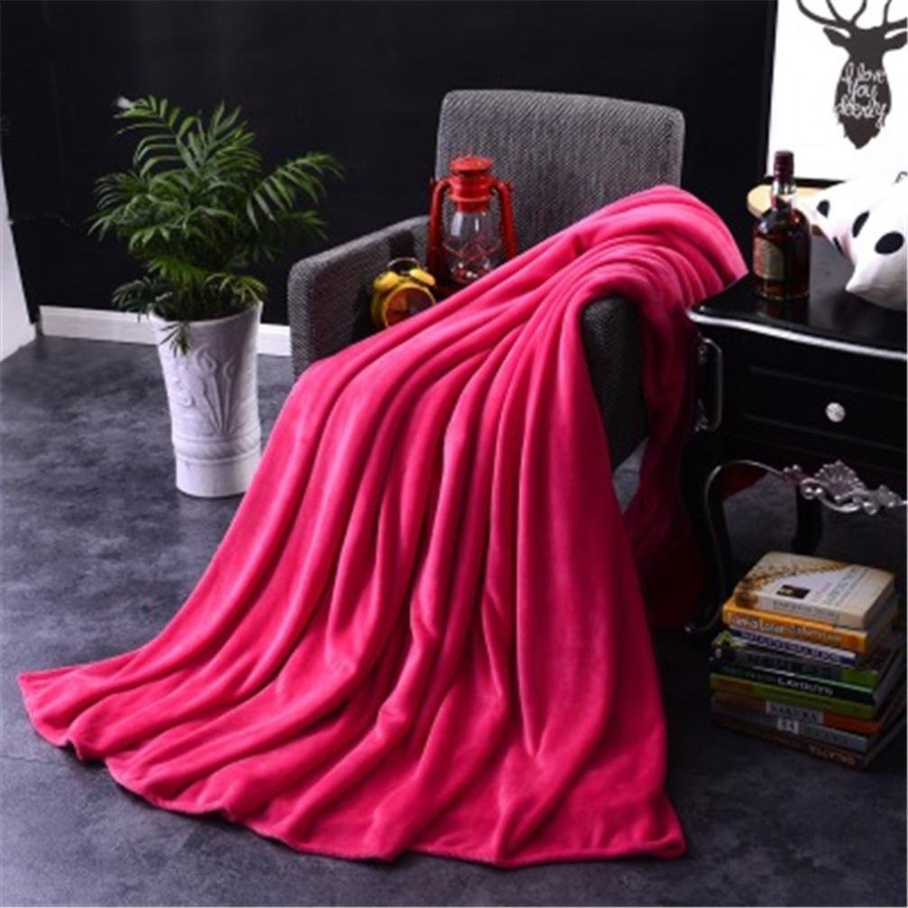 ZTY66 Solid Color Ultra Soft Plush Fleece Lightweight All-Season 50x70 Throw/Bed Blanket (Hot Pink)