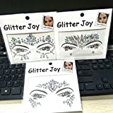 3PCS Festival Jewels Temporary Tattoos Face Rhinestones Crystal Gems Sticker FOR Body Bindi Eyes Stones Mermaid (Collection C 3pcs)