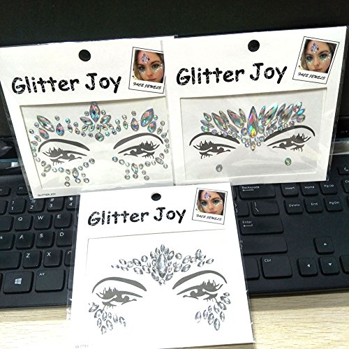 3PCS Festival Jewels Temporary Tattoos Face Rhinestones Crystal Gems Sticker FOR Body Bindi Eyes Stones Mermaid (Collection C 3pcs) by Queenme