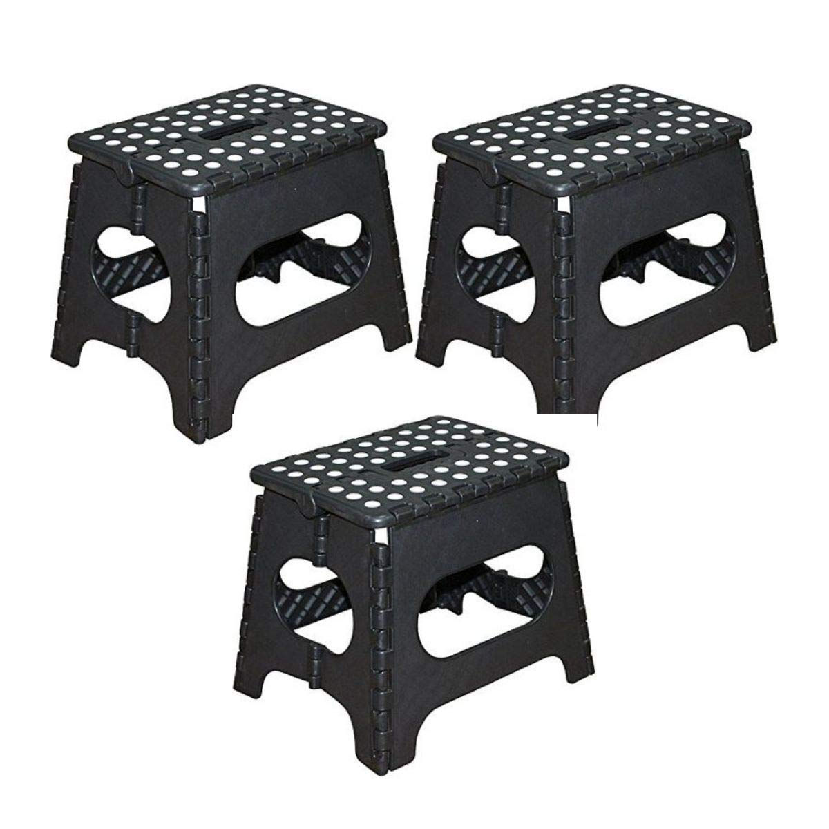 Black Jeronic 11-Inch Plastic Folding Step Stool