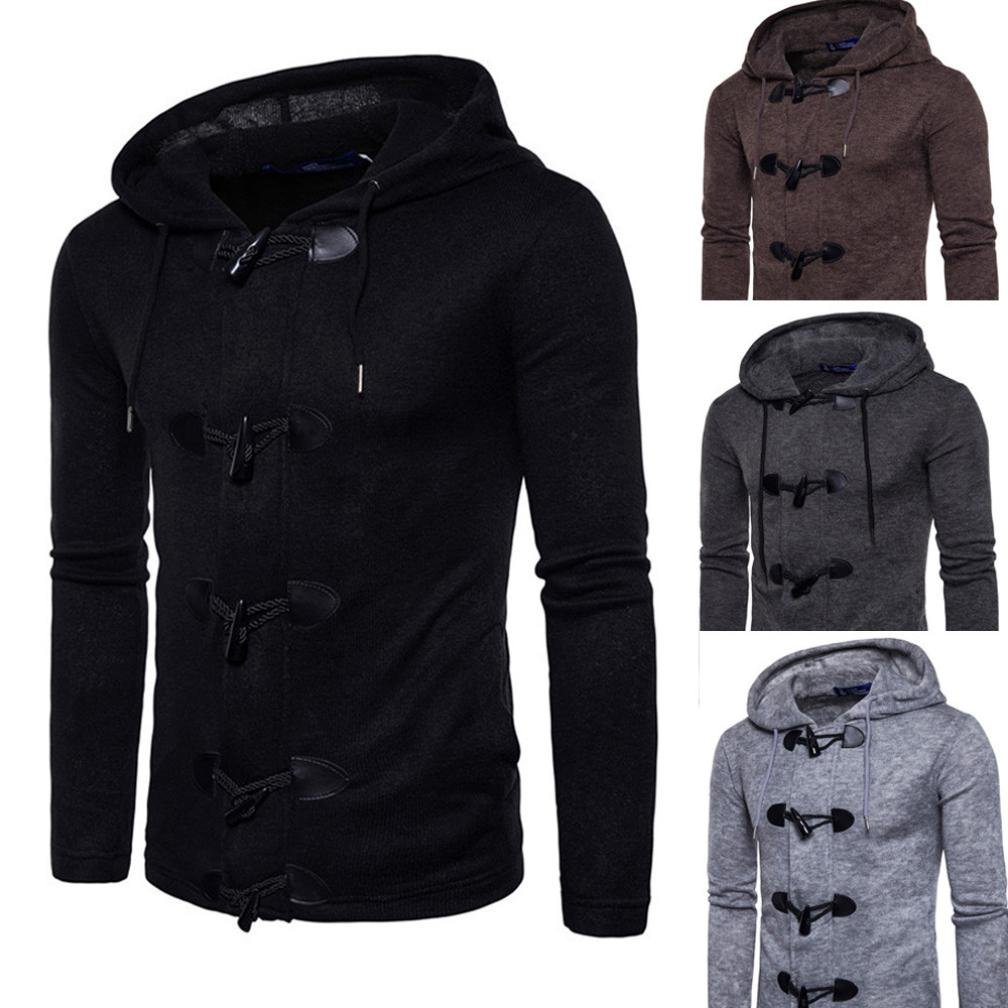 WM & MW Coat With Hoods, Mens Cardigan Coat Winter Casual Horns Button-up Slim Hooded Jacket Outwear Top at Amazon Mens Clothing store: