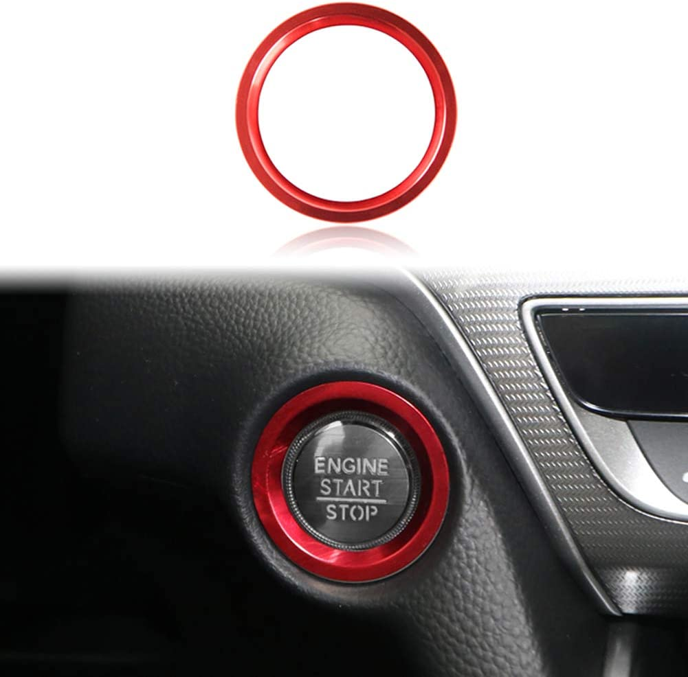 GeeGee Car Engine Start Stop Push Button Cover Trim and Surrounding Decorative Ring Ignition Starter Switch Knob Decoration Sticker For Honda Accord CRV CR-V