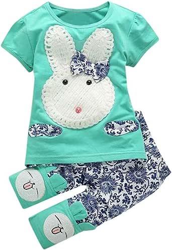 Conjunto de ropa para bebé, ropa para niña, camiseta y pantalón de conejo, ropa de manga corta para bebés y niñas, Verde, 18-24 Meses: Amazon.es: Iluminación