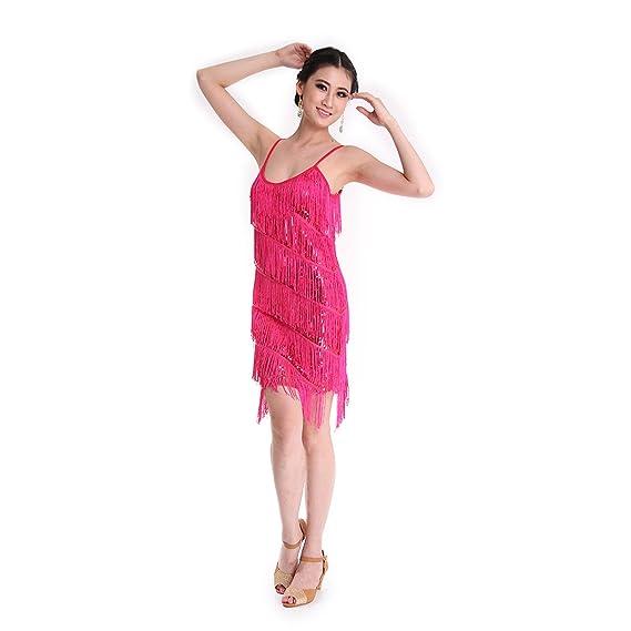 Danza Vestido CoastaCloud Mujer Concurso De Danza Vestido Tassle Latín Moderno Discoteca Rosado: Amazon.es: Deportes y aire libre