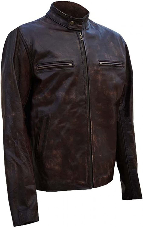 Distressed Brown Biker Leather Jacket Sergeant Hank Voight UGFashions Chicago PD Jason Beghe