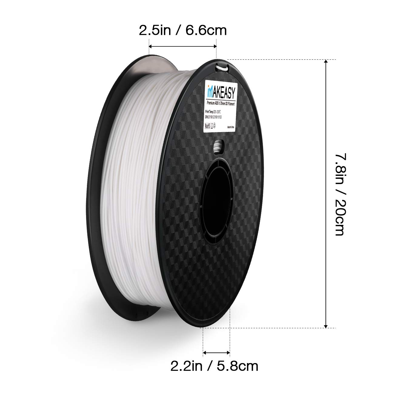 ABS 3D Printer Filament 1 kg Spool Dimensional Accuracy +//- 0.05 mm 1.75 mm White MAKEASY