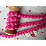 Pearl POM POM BOBBLE TRIM - BEST QUALITY PomPomsSize MINI 10mm (0.4)1m RASPBERRY #A (per meter) by HomeBuy