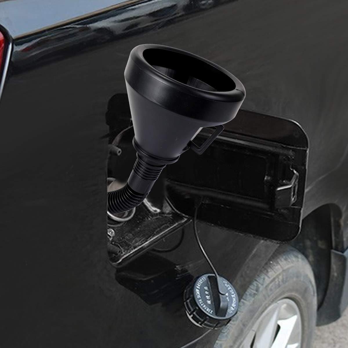 con Boquilla Flexible y Extensible 2 Unidades Embudo de pl/ástico 2 en 1 para Coche AIEVE Embudo Flexible Color Negro Gasolina y di/ésel