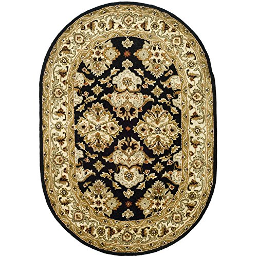 (Safavieh Heritage Collection HG817A Handcrafted Traditional Oriental Black and Ivory Wool Oval Area Rug (7'6