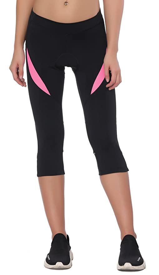 be45076e0aef9 Amazon.com: Santic Women's Cycling Shorts Bike Pants Padded 3/4 Tights  Breathable Bicycle Capris XXL, Black/Pink: Sports & Outdoors