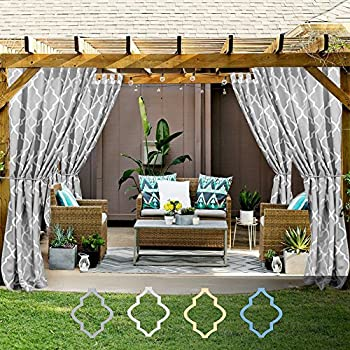 Awesome Moroccan Tile Print Outdoor Curtains 84 Inches Long For Porch Quatrefoil  Printed Water Repellent Lattice Tab