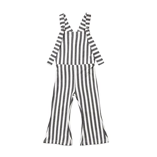 88f2c771fc9 Happy Town Toddler Kids Baby Girl Stripes Bell-Bottom Jumpsuit Romper  Overalls Pants Outfits (