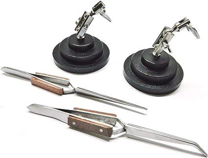 Cross Lock Fibre Grip Soldering Tweezers Third Hand Base Helping Hand Tool