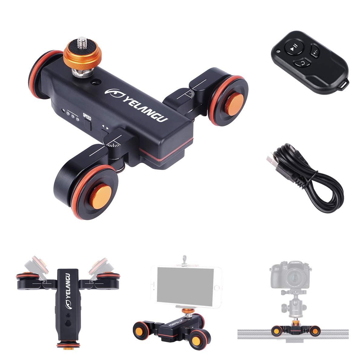 YELANGU Motorized Autodolly Video Slider with Remote, Rechargeable, 3 Speed Adjust for GoPro and iPhone Camera Weight Up to 3kgs(Black) Shooting with Straight Lines and Surrounding Objects by YELANGU