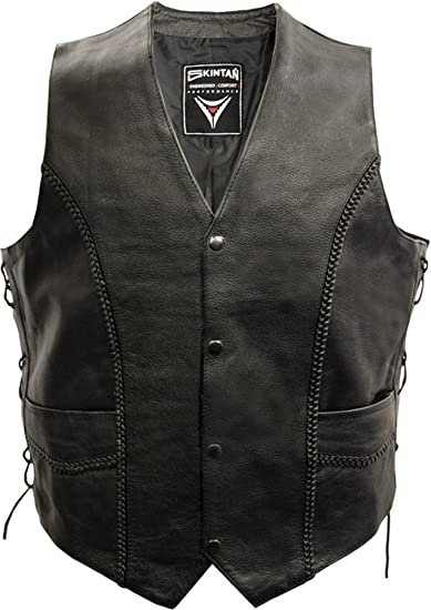 Son Of Anarchy Black Real Leather Handmade Motorcycle Biker Waistcoat Club Vest Modern Techniques Clothing, Shoes & Accessories