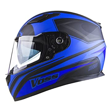Voss 988 Synchro Graphic DOT Full Face Helmet with Integrated Sun Lens - S - Matte