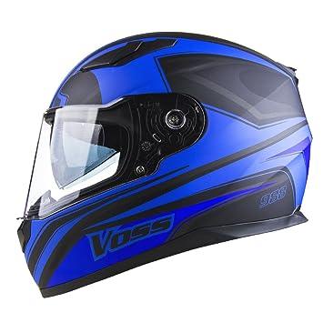 Voss 988 Synchro Graphic DOT Full Face Helmet with Integrated Sun Lens - S - Matte