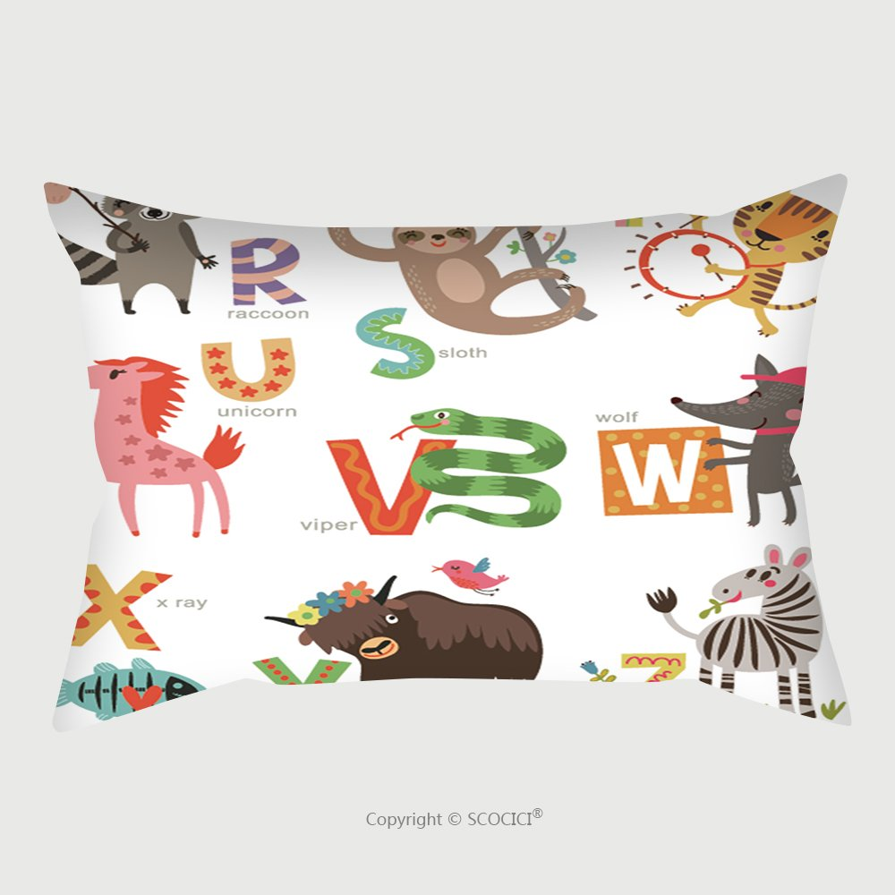 Custom Satin Pillowcase Protector Zoo Alphabet For Children Set Of Letters And Illustrations Cute Animals 584177476 Pillow Case Covers Decorative