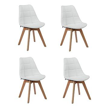 Cittatrend Esszimmerstühle 4er Set Weiß Design Küchenstühle