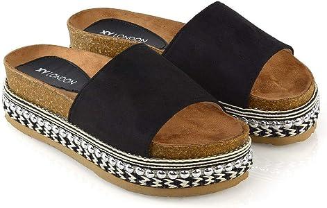 New Womans Stud Sliders Platform Mule Summer Sandals Wedge Slip On Shoes Size