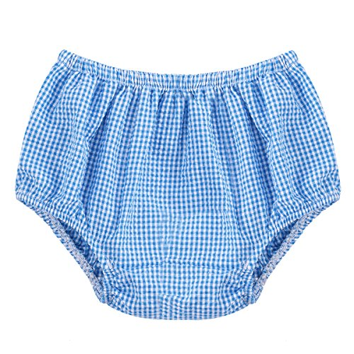 Baby Girls' Boys Unisex Soft Cotton Ruffle Basic Diaper Cover Bloomers for Toddler Girl Shorts Briefs Panty Underwear Panties Plaid blue One Size (Boy Brief Plaid)