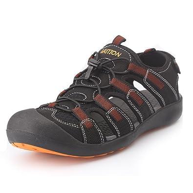 Men's Leather Sandals Protective Toecap Water Athletic Outdoor Quick Dry Mesh Sandals