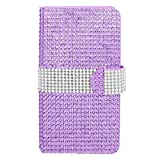 Galaxy Note 4 Case, Insten Folio Flip Rhinestone Diamond Bling Leather [Card Slot] Wallet Flap Pouch Case Cover For Samsung Galaxy Note 4, Purple/Silver