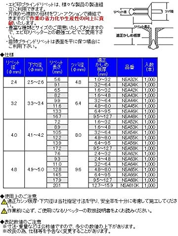 ロブテックス エビ印 NSA46K ブラインドリベット(皿頭)アルミニウムフランジスティールシャフト 1000本入り ロブスター