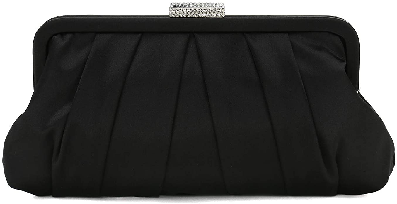 1940s Handbags and Purses History Charming Tailor Classic Pleated Satin Clutch Bag Diamante Embellished Formal Handbag for Wedding/Prom/Black-Tie Events  AT vintagedancer.com
