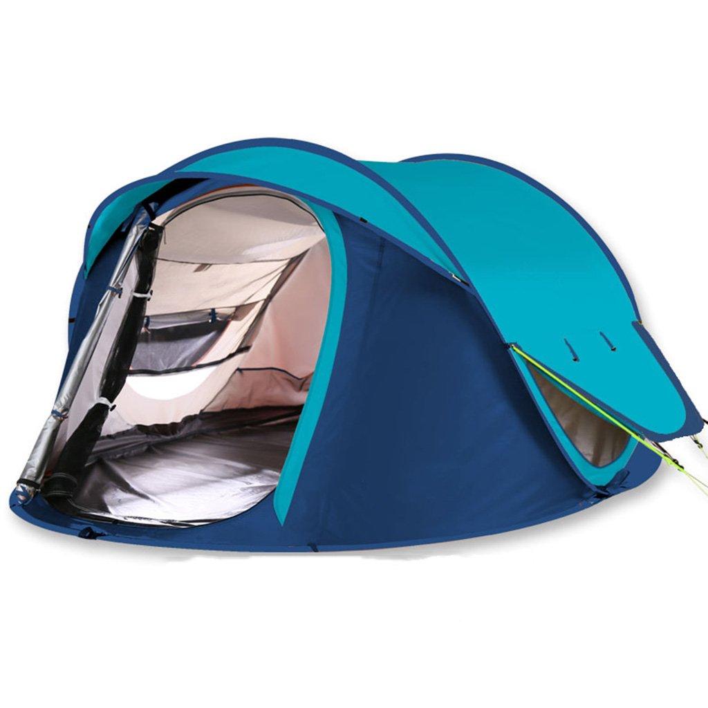テント、自動テント屋外防水キャンプファミリーテント (色 : 青)   B07D5VHVL1