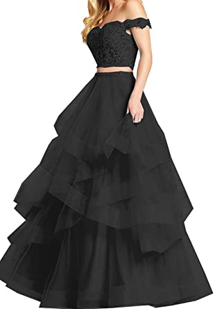 Modeldress 2 Piece Prom Dresses 2018 Off Shoulder Ball Gown Prom Party DressesBlack-US2