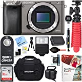 Sony Alpha a6000 24.3MP Grey Interchangeable Lens Camera Body + 16GB Class 10 UHS SDHC Memory Card + NP-FW50 Battery Pack + Accessory Bundle