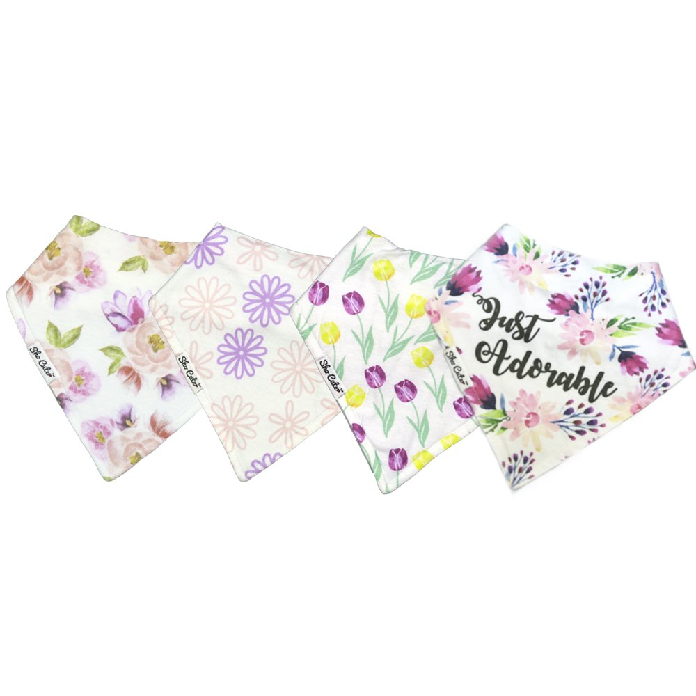 Sho Cute - Organic Bandana Drool Bibs for Baby Girls & Teething Toddlers Gifts