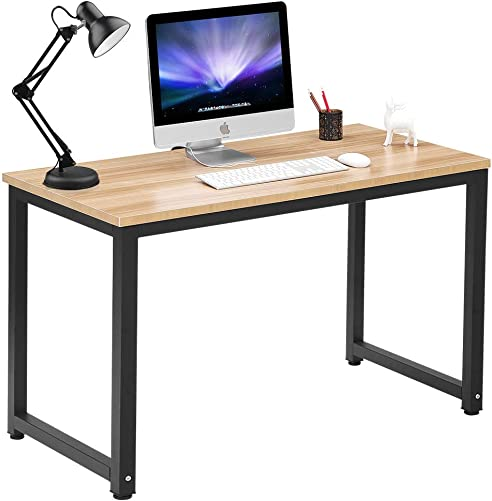 Computer Desk 47 Modern Simple Style Sturdy Home Office Desk Particleboard Study Writing Table for Home Office School, Walnut Black Leg 47.2 X 23.6 X 29.1