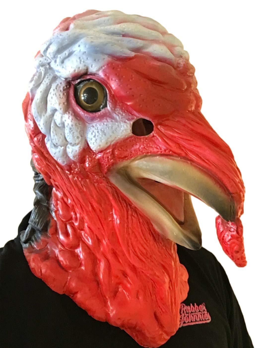 Rubber Johnnies TM Turquie Bird Masque T/ête compl/ète danimaux de la ferme Thanksgiving D/éguisement