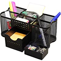 DecoBros Desk Supplies Organizer Caddy, Negro