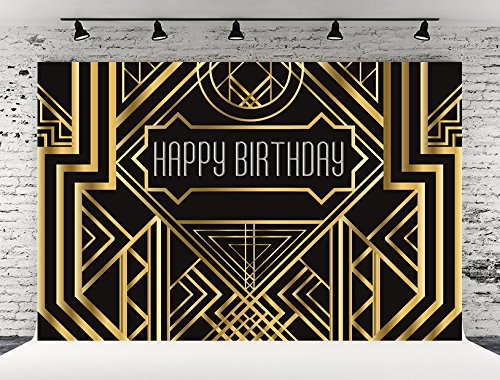 Kate 7X5ft (220cmX150cm) Photography Backdrop Gold Happy Birthday Adults Children Party Black and Gold Golden Banner Photo Studio Booth Newborn Baby Photography - Gatsby Price